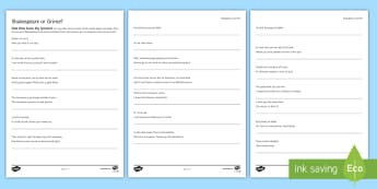 Shakespeare or Grime? Activity Sheet - shakespeare, quote, activity, modern