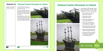 National Famine Monument in Ireland Writing and Art Activity Sheets - World Around Us KS2 - Northern Ireland, The Great Famine, Gorta Mor, Irish Famine, worksheets, bligh