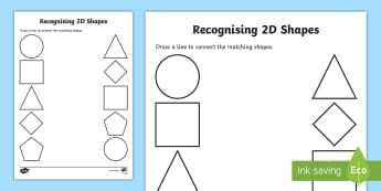 Recognising 2D Shapes Activity Sheet - Maths in ECE, shape, fine motor skills, drawing, maths, recognition, 2D shape