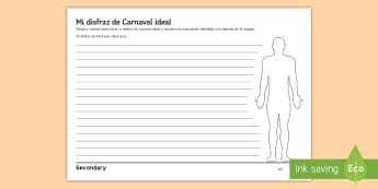 My Dream Costume for Carnival Writing Activity Sheet Spanish - Celebrations, festivals, clothes, colours, fancy, Dress, Creative