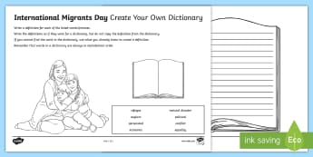 International Migrants Day Create Your Own Dictionary Activity Sheet - rrsa, rights, unicef, immigration, refugee,Scottish, Worksheet