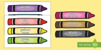 Colour Words on Crayons English/Portuguese  - Colour Words on Crayons, crayon, colour display, colour posters, colour, display, poster, posters, c