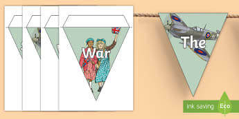 Second World War Display Bunting - second world war, ww2, adolf hitler, winston churchill, bunting, display