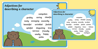 Adjectives For Describing a Character Poster - ESL Character Description