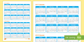 2017 and 2018 2 Years to a Page - End of Year/Back to School Australia, calendar, 2017, 2018