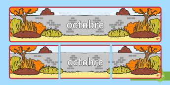Banderole d'affichage : Octobre - Les mois de l'année - octobre, October, banderole, banner, display, panneau d'affichage, mois, months, year, année, cycl