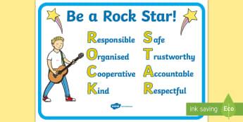 Be a Rockstar Classroom Behaviour A4 Display Poster - New Zealand, Back to School, Behaviour, Rockstar, Management