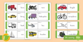 A1 Tarjetas de buscar y emparejar: Los transportes en inglés - transport, lengua extranjera, inglés, english, ,Spanish-translation