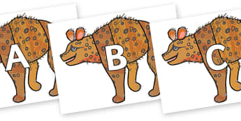 A-Z Alphabet on Hyena to Support Teaching on The Bad Tempered Ladybird - A-Z, A4, display, Alphabet frieze, Display letters, Letter posters, A-Z letters, Alphabet flashcards