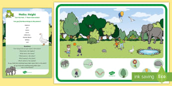 Maths: Height Can You Find...? Poster and Prompt Card Pack - mathematics, maths, tall, short, big, small,
