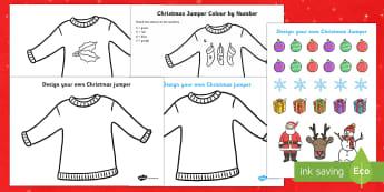 Christmas Jumper Activity Pack - Christmas, Nativity, Jesus, xmas, Xmas, Father Christmas, Santa, St Nic, Saint Nicholas, traditions,