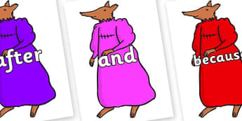 Connectives on Mrs Fox to Support Teaching on Fantastic Mr Fox - Connectives, VCOP, connective resources, connectives display words, connective displays