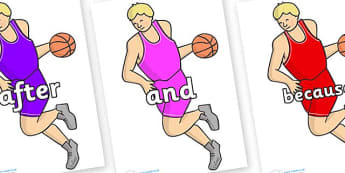 Connectives on Basketball Player - Connectives, VCOP, connective resources, connectives display words, connective displays