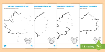 Leaves Dot to Dot Activity Sheets - numbers, ks1, EYFS, early years, leaves, worksheet, counting, 1-10, counting to 10, fine motor skill