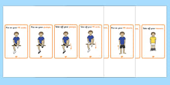 A4 PE Changing Clothes Strip - pe, changing, clothes, strip, change, physical education