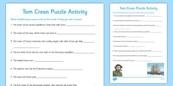 Tom Crean Puzzle Activity - Tom Crean, Irish History, South Pole, Antarctica, puzzle