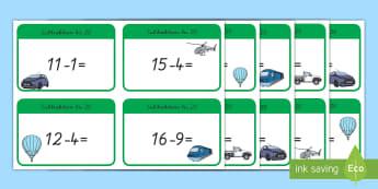 Subtraktion bis 20 : DIN A4 Karteikarten - Subtrahieren, minus, minus rechnen, Mathematik ,German