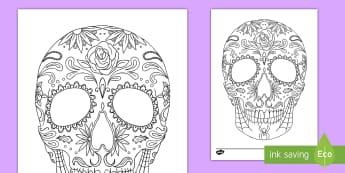 Sugar Skull Coloring Page - day of the dead, dia de los muertos, activity sheet, sugar skull, decorate the sugar skull activity