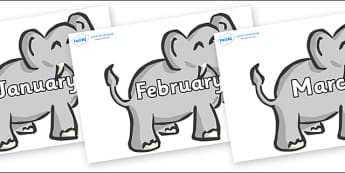 Months of the Year on Elephants - Months of the Year, Months poster, Months display, display, poster, frieze, Months, month, January, February, March, April, May, June, July, August, September