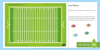 Super Bowl Math Board Game - Super Bowl, Math Game, Board Game, task cards, quiz