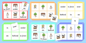 Preposition Bingo - positions, SEN, SEN games, games, visual aid, prepositions