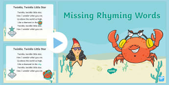 Missing Rhyming Words PowerPoint - Phonics, rhyme, Phase 1, Aspect 4, nursery rhymes, Starry-Eyed Stan, Twinkl Original, Literacy, Read