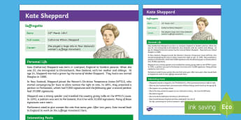 Kate Sheppard Fact File - New Zealand Famous People, kiwis, celebrities, role models, famous people, New Zealand, Kate Sheppar