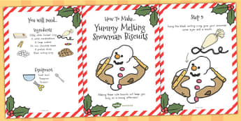Yummy Melting Snowman Biscuits Recipe Cards - australia, recipe