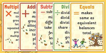 Autumn Themed Maths Vocabulary Display Poster Pack - autumn, maths, vocabulary, display