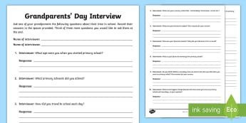 Grandparents' Day Interview Activity Sheets - grandparents' day, granny, grandad, interview, activity sheets, worksheet, worksheets, Catholic Sch - grandparents' day, granny, grandad, interview, activity sheets, worksheet, worksheets, Catholic Sch
