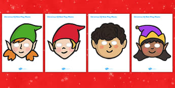 Christmas Elf Role Play Masks - activity, activities, festivities