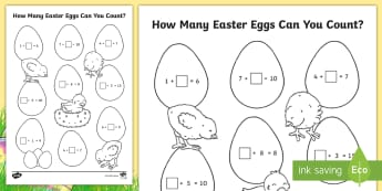 How Many Eggs Can You Count? Activity - numbers, maths, eggs, sums, missing number, count, addition, plus