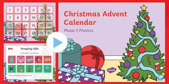 Phase 3 Christmas Phonics Advent Calendar PowerPoint