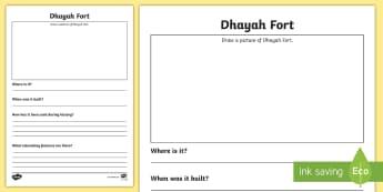 Dhayah Fort Activity Sheet -  rak, ras al Khaimah, events, invade, worksheet