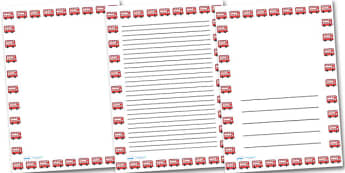 Red Bus Portrait Page Borders- Portrait Page Borders - Page border, border, writing template, writing aid, writing frame, a4 border, template, templates, landscape
