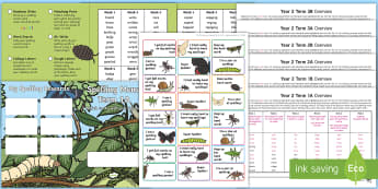 Year 2 Minibeast-Themed Spelling Menu Pack - spag, gps, home learning, weekly, lists, test,