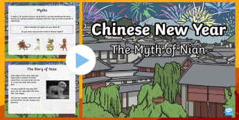 Chinese New Year The Myth of Nian Story PowerPoint - Chinese New Year, Nian, Myth, Mythology, chinese myths