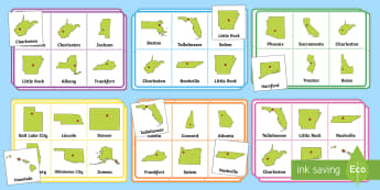 States and Capitals Bingo Game - USA States, US States, United States, US Capitals, USA Capitals, US Capital Cities, USA Capital Citi