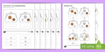Workstation Pack: Counting British Money Activity Pack - Workstation Packs, TEACCH, money skills, maths, counting coins, functional maths, p scale maths