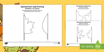 Autumn Symmetrical Leaf Drawing Activity Sheets Romanian/English - drawing templates, symmetry, autumn, leaf, leaf drawing templates, EAL