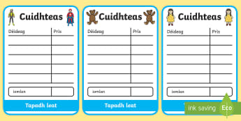 Toy Shop Receipts - cfe, curriculum for excellence, gaelic, toy shop, role play, receipts, receipt, play