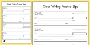 USA Check Writing Practice Slips - usa, cheque, writing practice, check, slips