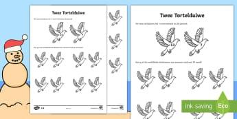 Twee Tortelduiwe Aktiwiteit bladsy - Desember, vier, tradisies, wiskunde, gesyferdheid, nommers