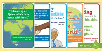 Nelson Mandela Simple Inspiring Quotes Display Posters - Black History, President, South Africa, Prisoner, Mandela Day