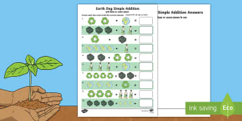 Earth Day Simple Addition Counting Worksheet / Activity Sheet English/Hindi - Earth Day, simple addition, Pre-K adding, Kindergarten adding, addition skills , adding, addition, w