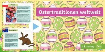 Weltweite Oster Traditionen PowerPoint - Weltweite Oster Traditionen, Oster Traditionen, Ostern, Ostern in Deutschland, Ostern in Spanien, Os