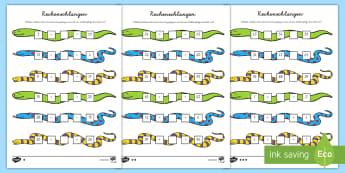 Rechenschlangen Arbeitsblätter - Mathe, größer als, kleiner als, Symbole, Zeichen, vergleichen, ,German