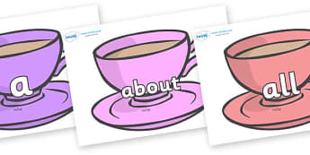 100 High Frequency Words on Cups - High frequency words, hfw, DfES Letters and Sounds, Letters and Sounds, display words