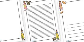Handa's Hen Page Borders - Handa's Hen, Eileen Browne, Africa, African culture, African animals, counting, Mondi, sunbirds, bullfrogs, spoonbills, story, story book, story book resources, story sequencing, story resources, Literacy, writing, page bor