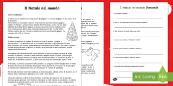 Il Natale nel mondo Lettura Comprensiva  - natalizio, leggere, lettura, materiale, scolastico, domande, comprensione, italiano, italian